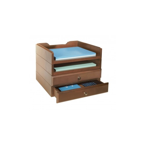 Bindertek stacking wood desk organizers 2 tray 2 drawer - Desk drawer organizer trays ...